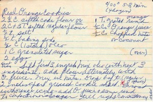 aunt Sallies ornage cookie recipe card front